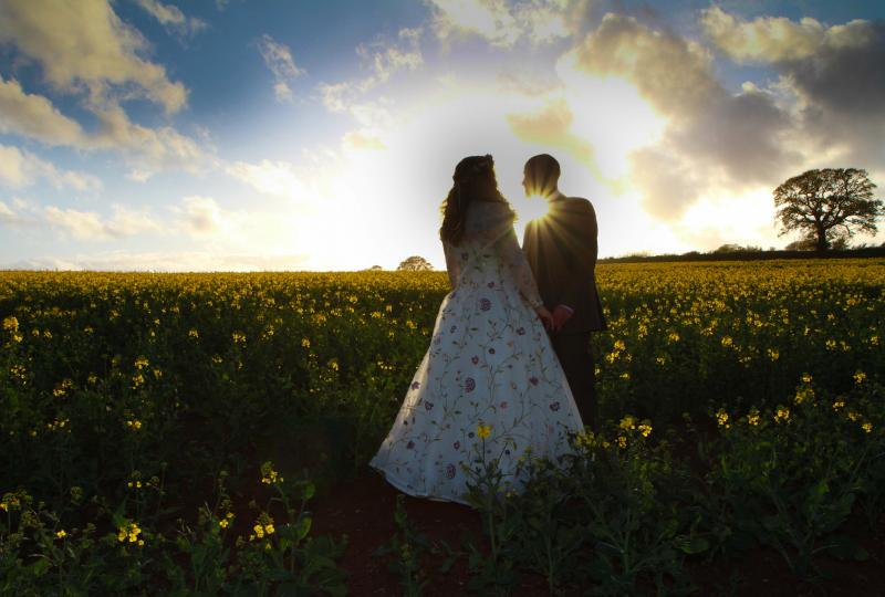 Wedding Harefield Barn in Oilseed Rape field