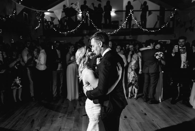 Black and white image of couple's first dance
