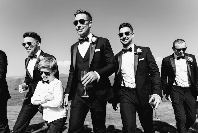 Black and white image of Groom and his groomsmen