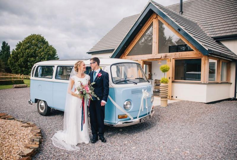 VW Camper brings Owen and Emily from their Church wedding.